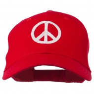 Peace Symbol Embroidered Cotton Twill Cap - Red