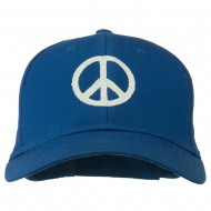 Peace Symbol Embroidered Cotton Twill Cap - Royal