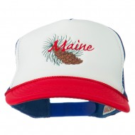 Maine State Pine Cone Tassel Flower Embroidered Cap - Red White Royal
