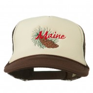 Maine State Pine Cone Tassel Flower Embroidered Cap - Brown Tan