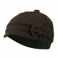Girl's Polka Dots Bow Cabby Cap - Brown