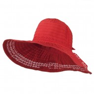 5 Inch Perforated Edge Brim Hat - Red Coral