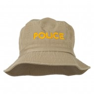 Police Embroidered Pigment Dyed Bucket Hat - Khaki