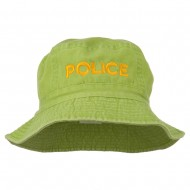 Police Embroidered Pigment Dyed Bucket Hat - Apple Green