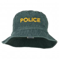 Police Embroidered Pigment Dyed Bucket Hat - Navy