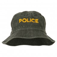 Police Embroidered Pigment Dyed Bucket Hat - Charcoal