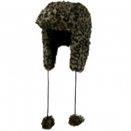 Woman's Animal Print Faux Fur Tropper Hat - Leopard Grey
