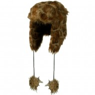 Woman's Animal Print Faux Fur Tropper Hat - Leopard Brown