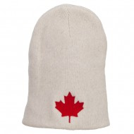 Canada Maple Leaf Embroidered ECO Cotton Beanie - Milk