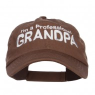 I'm a Professional Grandpa Embroidered Low Cap - Brown