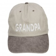 Grandpa Embroidered Big Washed Cap - Putty Brown