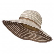 Polka Dot Hat with Flower Accent For Women's - Beige Brown