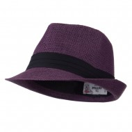 Pleated Hat Band Straw Fedora Hat - Purple