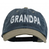 Wording of Grandpa Embroidered Washed Two Tone Cap - Navy Khaki