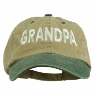 Wording of Grandpa Embroidered Washed Two Tone Cap - Khaki Green