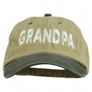 Wording of Grandpa Embroidered Washed Two Tone Cap - Khaki Black