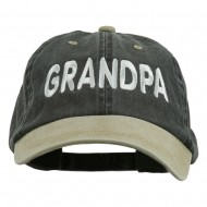 Wording of Grandpa Embroidered Washed Two Tone Cap - Black Khaki