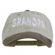 Wording of Grandpa Embroidered Washed Two Tone Cap - Beige Brown