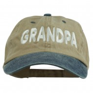 Wording of Grandpa Embroidered Washed Two Tone Cap - Khaki Navy