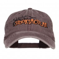 Spooktacular Embroidery Washed Cap - Brown