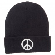 Peace Symbol Embroidered Long Beanie - Black