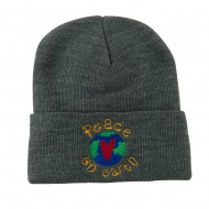 Peace on Earth Embroidered Beanie - Grey