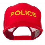 Youth Police Embroidered Foam Mesh Back Cap - Red