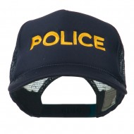 Youth Police Embroidered Foam Mesh Back Cap - Navy