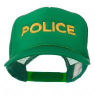 Youth Police Embroidered Foam Mesh Back Cap - Kelly