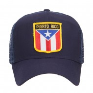Puerto Rico Flag Patched Mesh Cap - Navy
