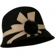Pom Pom Cloche Wool Felt Hat - Black