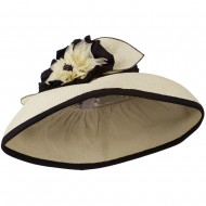 Paper Straw Hat with Big Flower - Natural Black