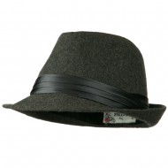 Fedora with Pleated Satin Band - Grey