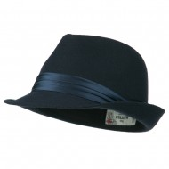 Fedora with Pleated Satin Band - Navy