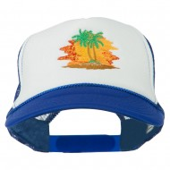 Palm Trees with Sunset Embroidered Foam Front Mesh Back Cap - Royal White