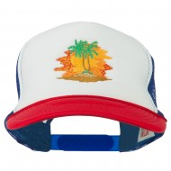 Palm Trees with Sunset Embroidered Foam Front Mesh Back Cap - Red White Royal