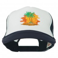 Palm Trees with Sunset Embroidered Foam Front Mesh Back Cap - Navy White