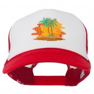 Palm Trees with Sunset Embroidered Foam Front Mesh Back Cap - Red White Red