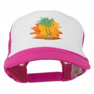 Palm Trees with Sunset Embroidered Foam Front Mesh Back Cap - Hot Pink White