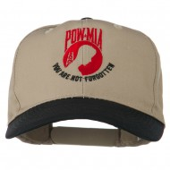 Pow Mia Logo Embroidered Two Tone Cap - Black Khaki