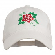 Christmas Poinsettia Flower Embroidered Washed Dyed Cap - White