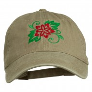 Christmas Poinsettia Flower Embroidered Washed Dyed Cap - Khaki