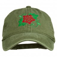 Christmas Poinsettia Flower Embroidered Washed Dyed Cap - Olive Green