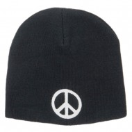 Peace Symbol Embroidered Short Beanie - Black