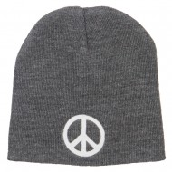 Peace Symbol Embroidered Short Beanie - Grey