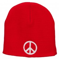 Peace Symbol Embroidered Short Beanie - Red