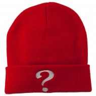 Question Mark Embroidered Long Knit Beanie - Red
