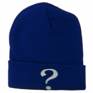 Question Mark Embroidered Long Knit Beanie - Royal