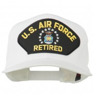 US Air Force Retired Military Patched Cap - White