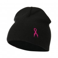 Breast Cancer Ribbon Embroidered Short Beanie - Black